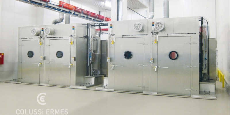 RACK WASHER DRYER WITH CENTRIFUGAL SYSTEM