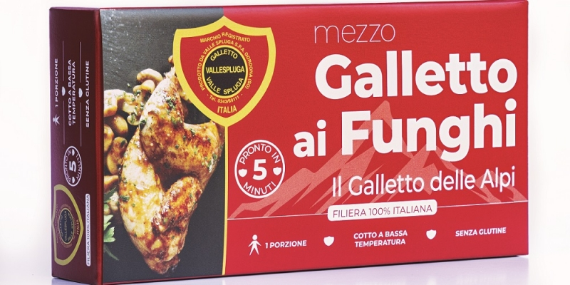 Galletto Vallespluga cooked with mushrooms